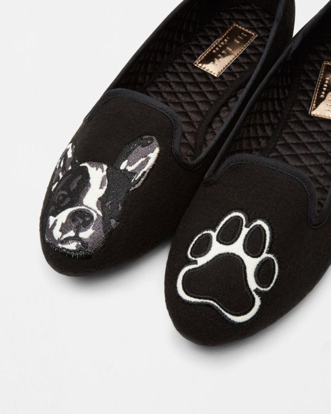 Puppy and paw slippers - Black | Footwear | Ted Baker UK