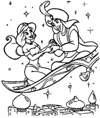 Prince Aladdin And Jasmine Carpet Ride Mit Bildern Ausmalbilder Ausmalen Bilder