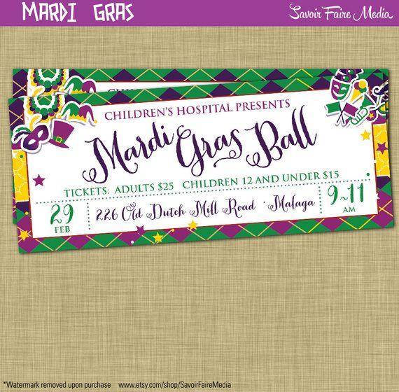 Mardi Gras Ball Ticket Flyer Invitation Postcard Poster Template
