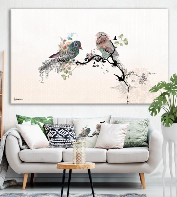 Love Birds Large Bedroom Painting Bedroom Wall Decor Etsy In 2021 Wall Decor Bedroom Original Wall Art Bird Watercolor Art