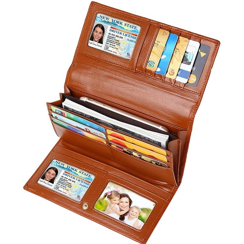 Brown RFID Signal Blocking Leather Checkbook Cover Zip Wallet Card Organizer