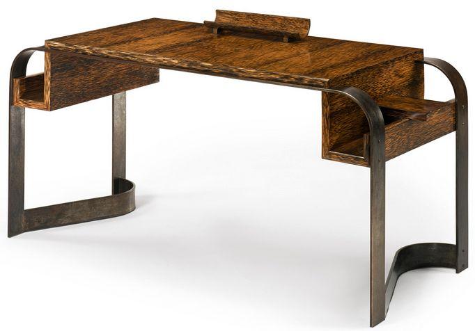 Art déco eugène printz bureau bois de palmier et fer forgé
