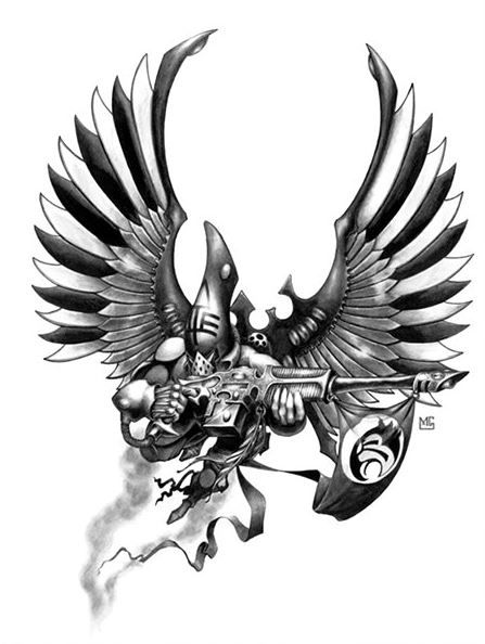 The Swooping Hawks take their name from the wild hunting birds of Eldar Mythology, who symbolize revenge and retribution. Just as these birds of legend contained the spirit of a murdered Eldar, hovering over their killers as a mark of guilt, so too do the Swooping Hawks fly across the battlefield, dealing swift death as retribution to the enemies of the Eldar.