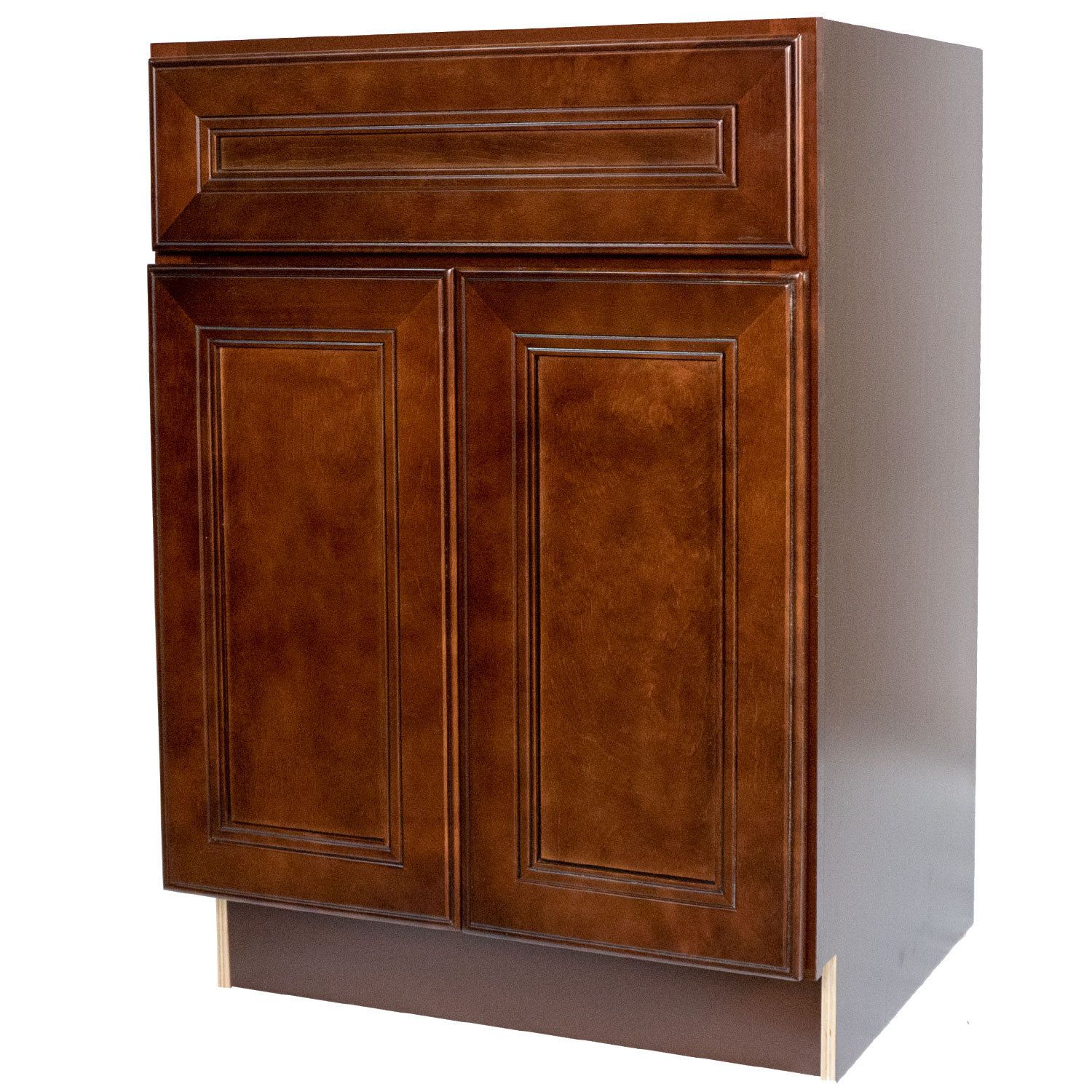 Everyday Cabinets 27 Inch Cherry Mahogany Brown Leo Saddle Base
