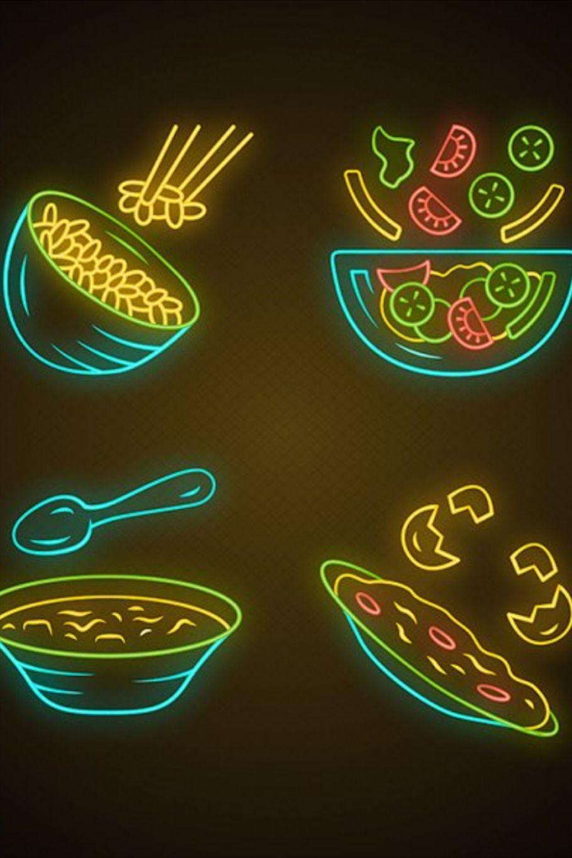 Organic food neon light icons set. Rice, vegetables, eggs