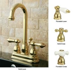 Polished Brass High Arc Bathroom Faucet (Solid Cross Handles ...