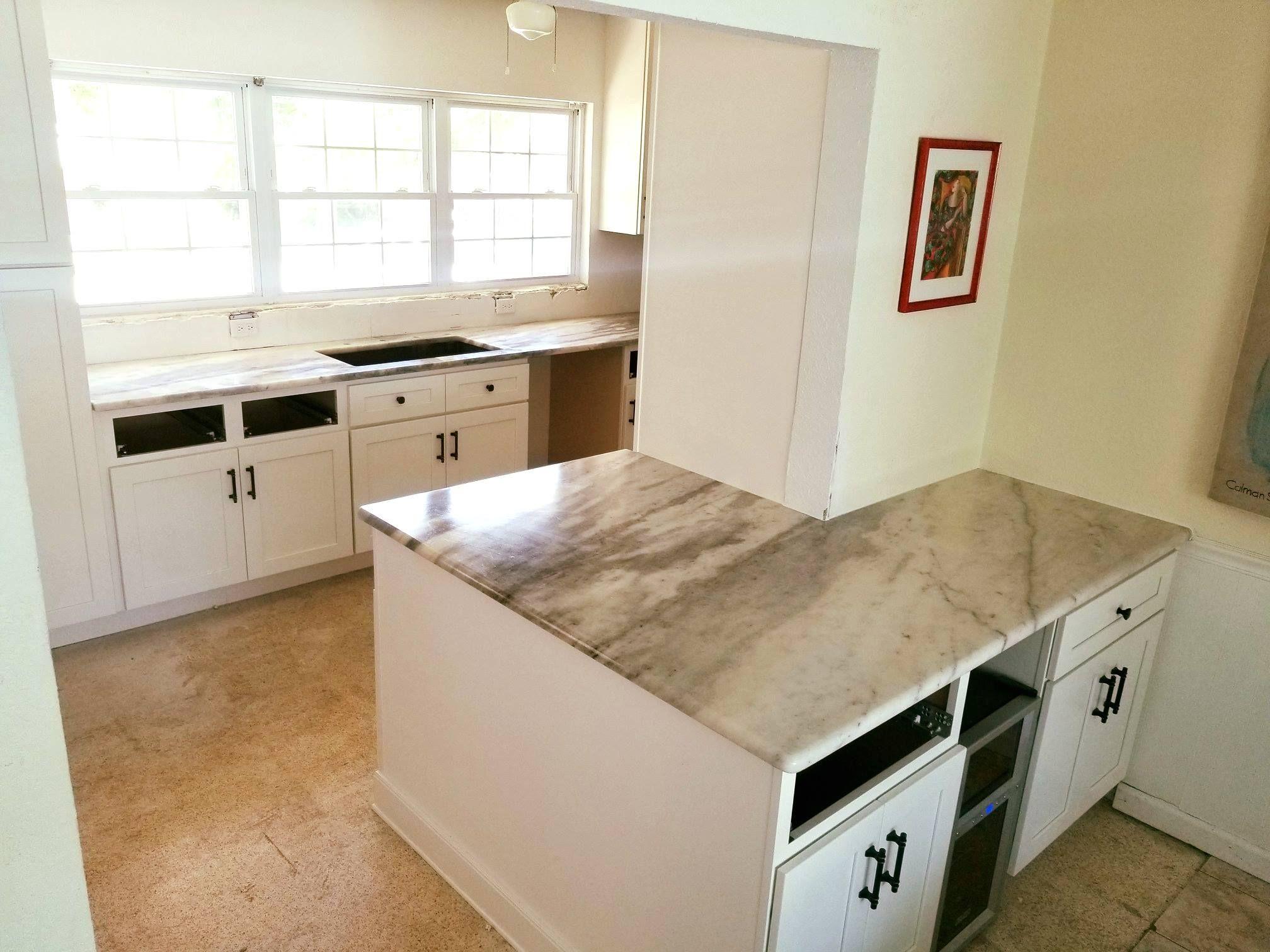 Custom Made Kitchen Countertop Using Astonishing White Ice Dolomite Designed Polished And Installe Countertops Natural Stone Countertops Kitchen Countertops