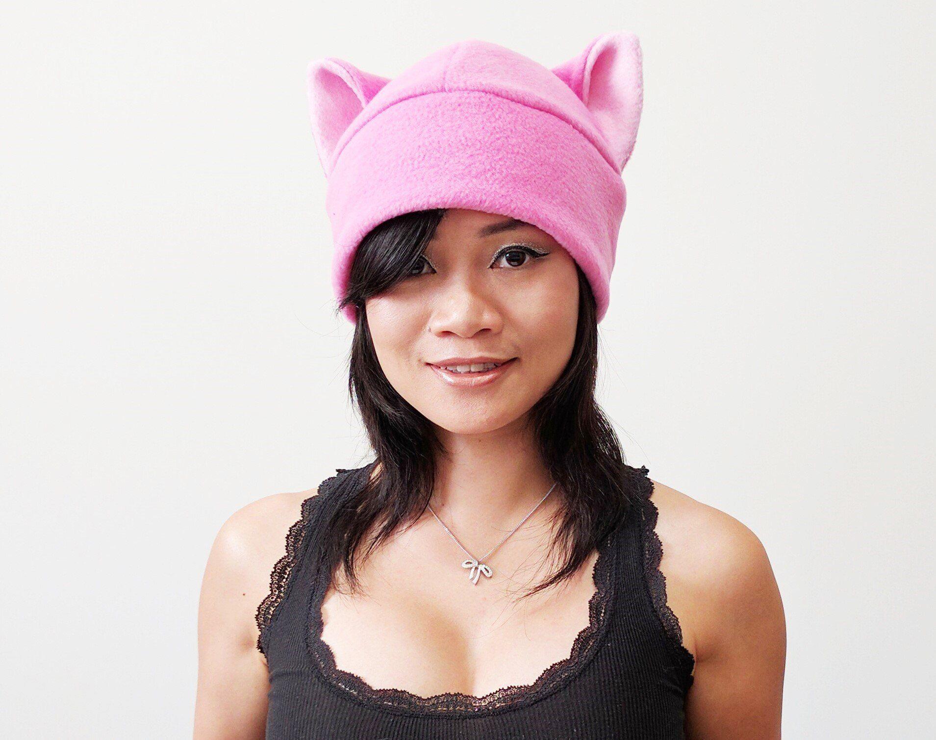 pink cat ear hat toque beanie feline kitty kitten fleece anime