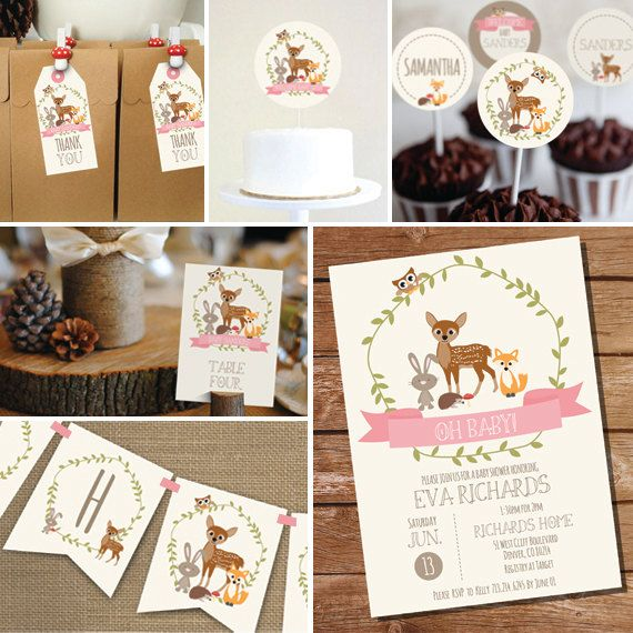 Woodland Baby Shower Printable Set For A Girl By Sunshineparties