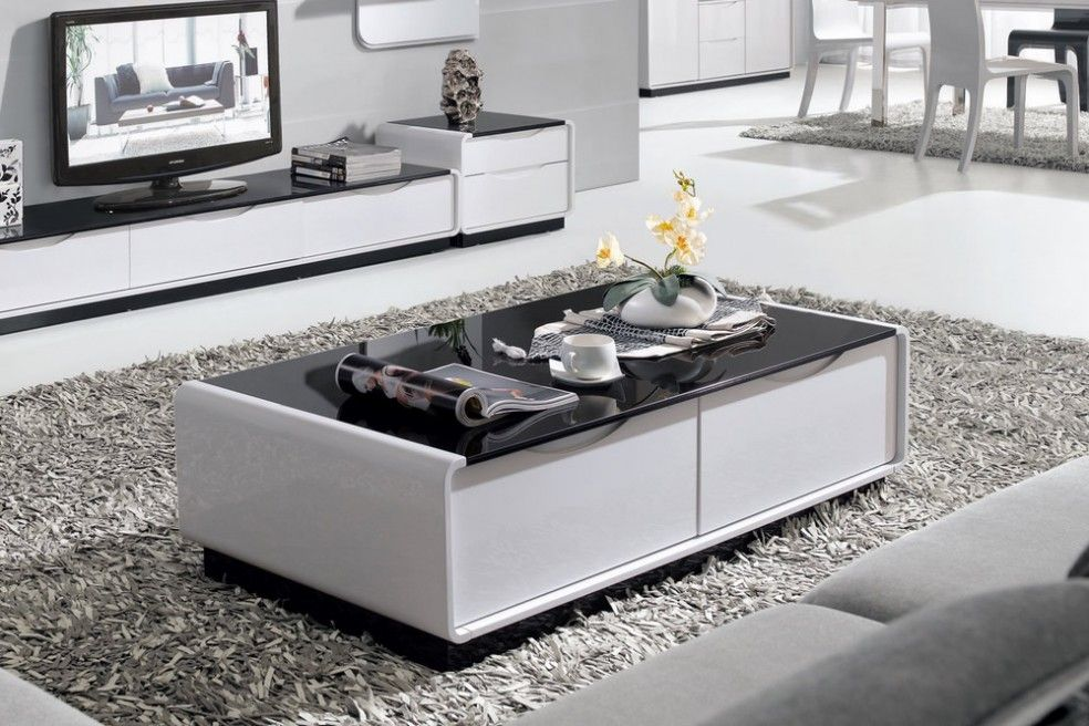 Presta 1 3m High Gloss Coffee Table With Black Glass Drawers