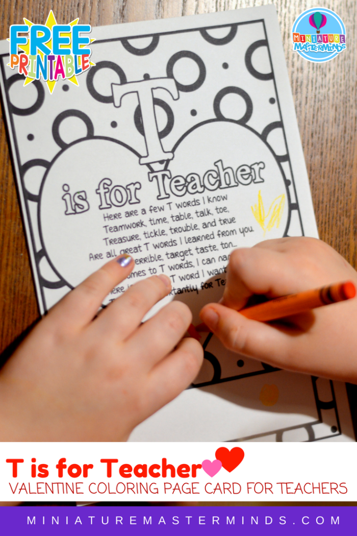 T Is For Teacher Coloring Page Valentine Or Teacher S Appreciation