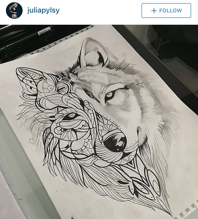 Mandala Wolf Tattoo Designs For Women I Like The: Geometrisches Tattoo