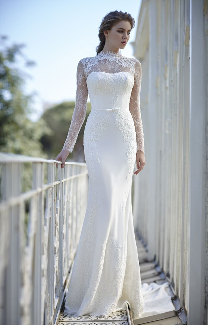 a75eec73a187 Ivory High Neck Long Sleeves Sheath Lace Wedding Dress with Ribbon ...