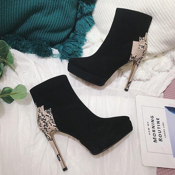 Fashion Winter Black Street Wear Womens Boots 2021 Leather High Heels 12 Cm Stiletto Heels Pointed Toe Boot Stiletto Heels Pointed Toe Boots Leather High Heels
