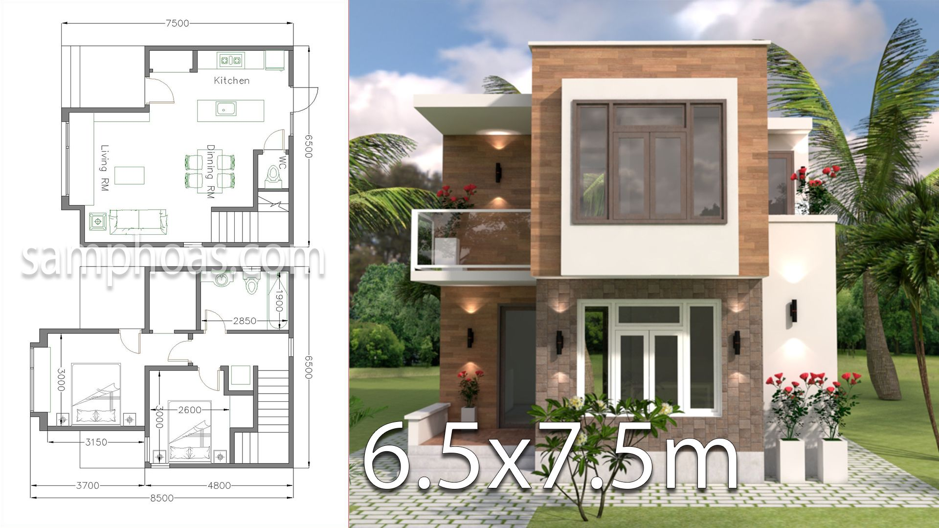 Small House Design With Full Plan 6 5x7 5m 2 Bedrooms Hauser