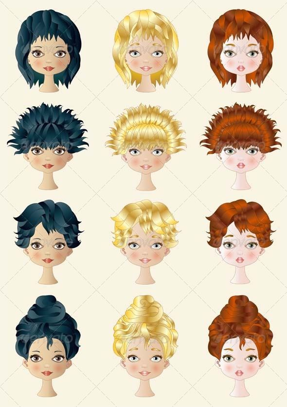 Realistic Graphic DOWNLOAD (.ai, .psd) :: http://realistic-graphics.ovh/pinterest-itmid-1006372162i.html ... Hair Style ...  black, blonde, girls, graphics, hair, hairdresser, hairstyles, heads, illustration, image, red, style, twelve, vector, vertical, women  ... Realistic Photo Graphic Print Obejct Business Web Elements Illustration Design Templates ... DOWNLOAD :: http://realistic-graphics.ovh/pinterest-itmid-1006372162i.html