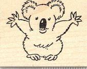 Koala Bear Hug Rubber Stamp J24814 Wood Mounted