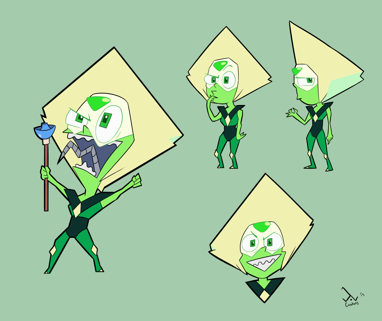 Invader Peridot!i was gonna do some shading but i got lazy