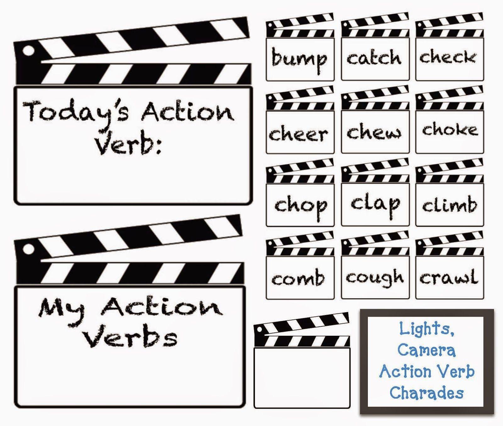 lights camera action verbs charades action verbs charades and