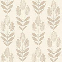 Fine Decor Blockprint Tulip Wallpaper Natural Bathroom Ideas