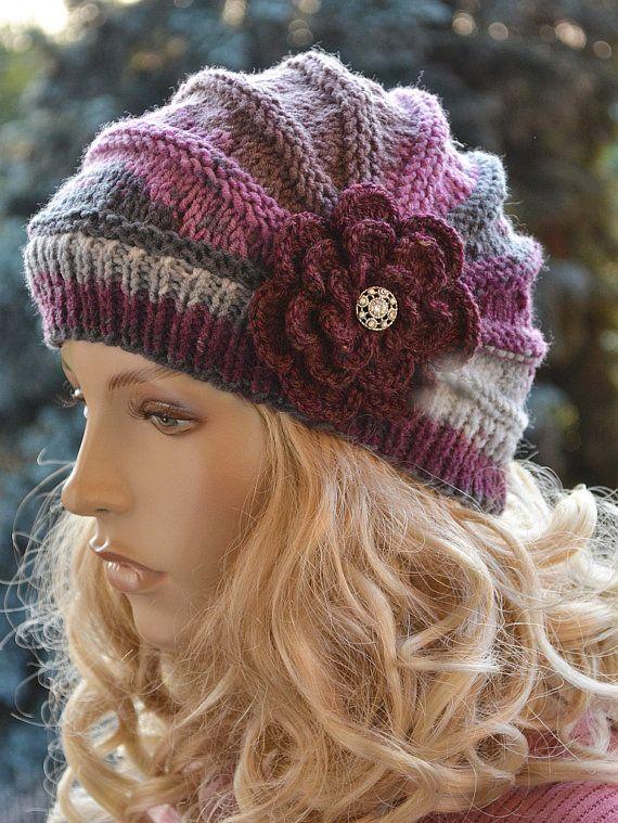 Knitted cap in flower cap / hat lovely warm autumn accessories women ...
