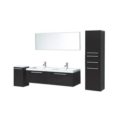 Virtu USA Brianna 56-1/2 in Double Basin Vanity in Wenge with
