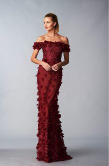 a225897864 Marchesa Notte Red Off Shoulder 3D Petal Column Gown N16G0425 | New ...