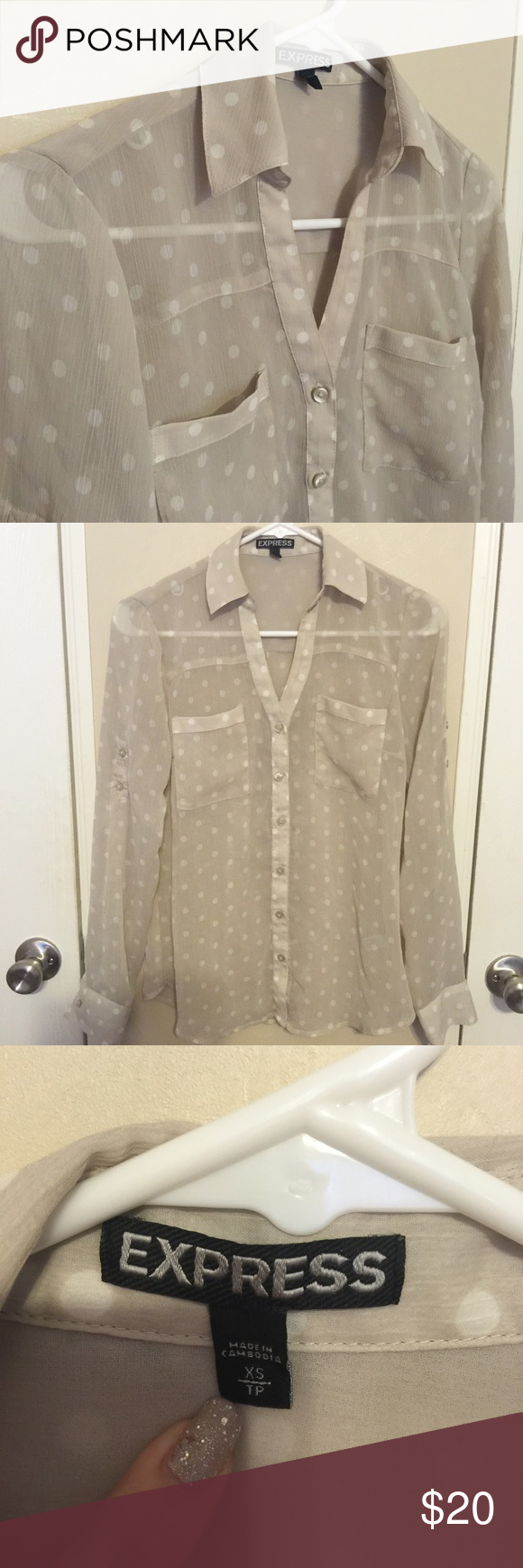 Express polka dot Portofino shirt Excellent condition. Portofino style shirt from Express. Beige with white polka dots. Express Tops Blouses