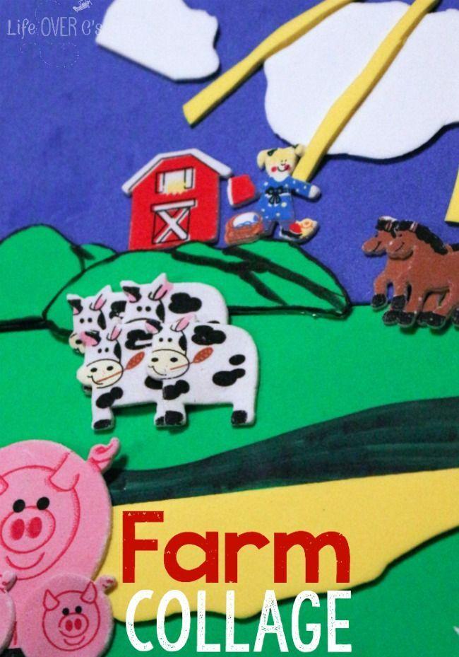 Sticker Collage Farm Animal Craft Kid Crafts Pinterest