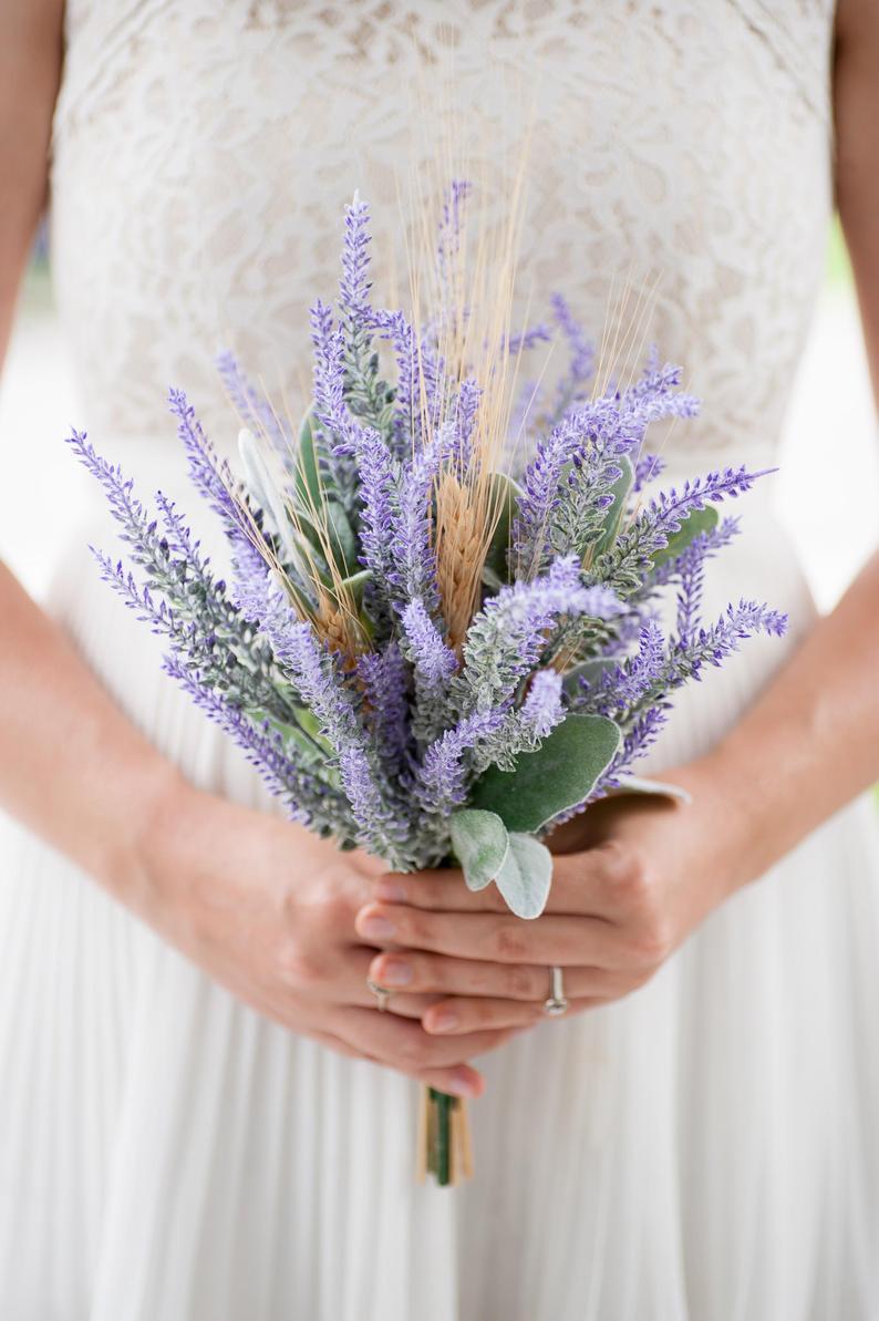 Custom Wildflower Bouquet, Lavender Bouquet, Wheat Bouquet,Bridesmaid Artificial Flower Bouquet, Bridal Bouquet, Rustic Wedding, Boho