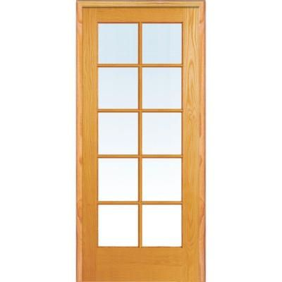 Mmi Door 24 In X 80 In Left Handed Unfinished Pine Wood Clear Glass 10 Lite True Divided Single Prehung Interior Door Z019941l The Home Depot Glass French Doors French Doors