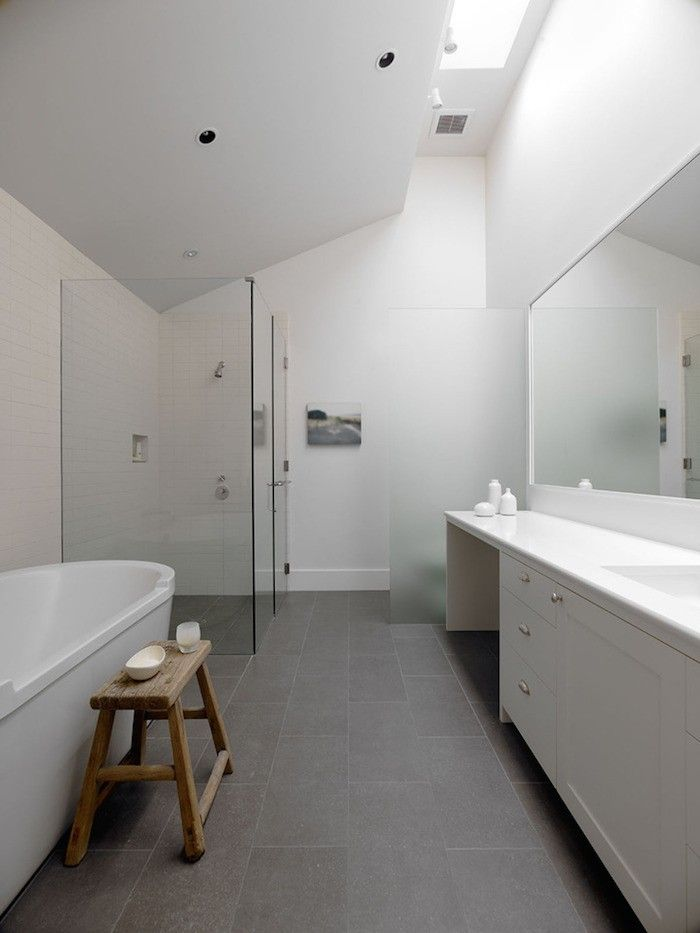 Sonoma farmhouse bathroom by Min | Day Bathroom Gray, Bathroom Floor Tiles,  Grey Bathrooms