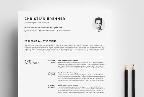 Minimal Resume Template 4 Pages Cv cover letter, Cover letter