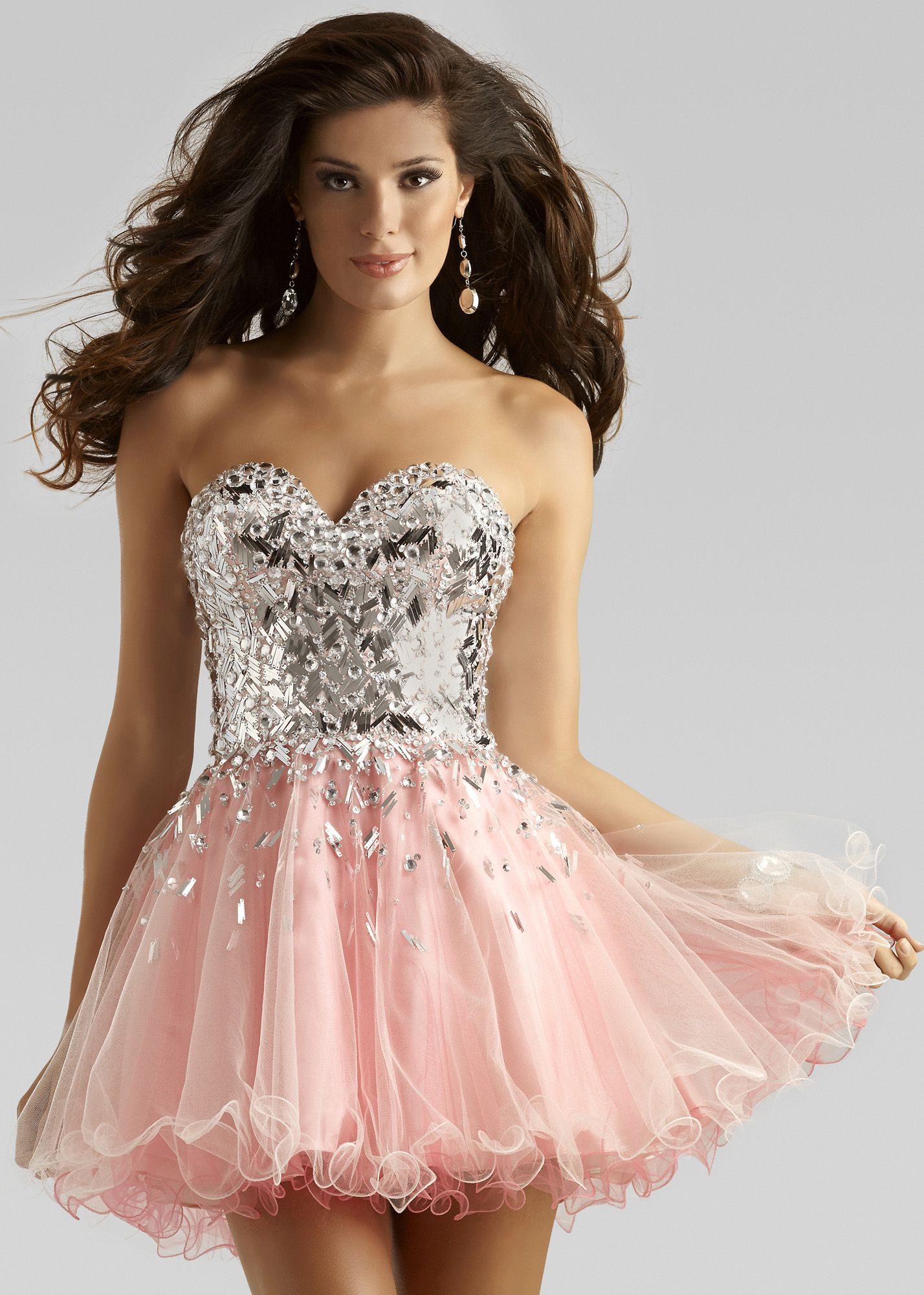 Clarisse 2391 Flirty Pink and Silver Homecoming Dress | Kleider ...