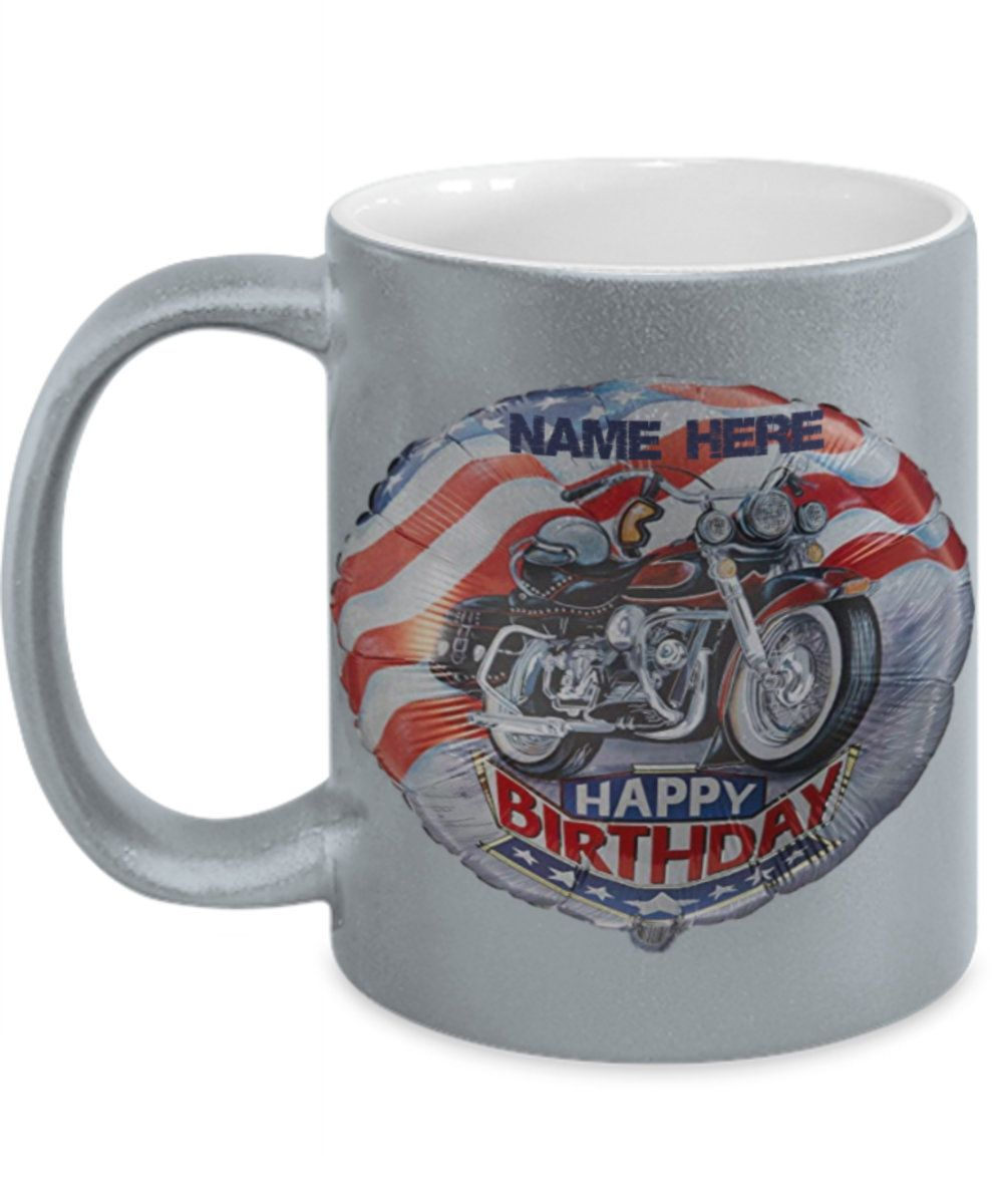 Motorbiker Customized Birthday Coffee or Tea Mug - Exclusive and a Great Coffee Mug, not found on the high street or sold by anyone else