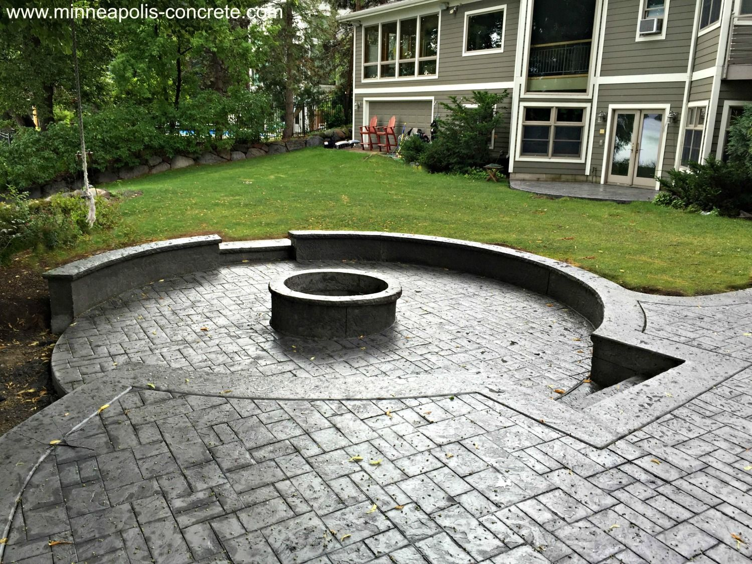 Stamped Concrete Patio with Raised Firepit wwwminneapolis