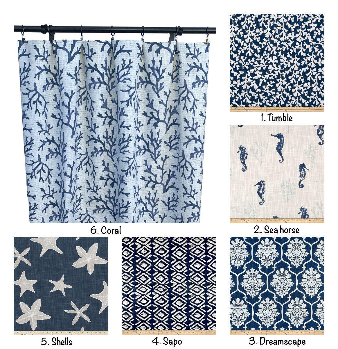 Navy Blue Curtain Panels Aquatic Print Curtain 2 Curtain Panels