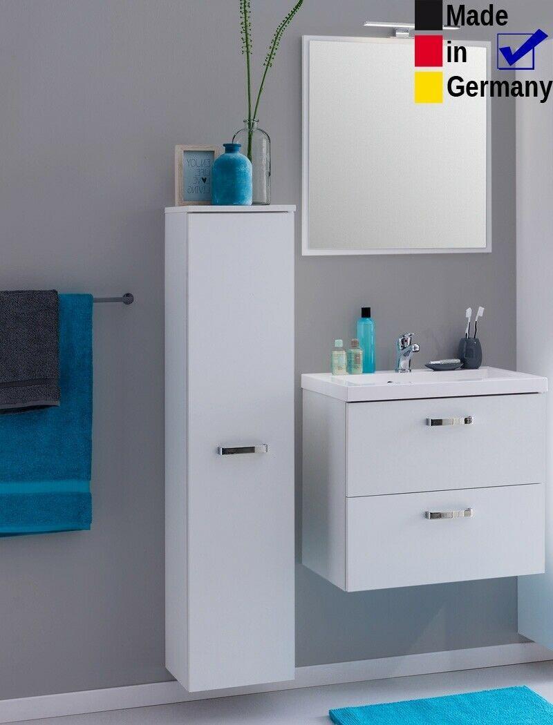 Badmobel Set 60 Cm Led Spiegel Waschtisch Unterschrank Hochschrank Midischrank In 2020 Spiegel Waschtisch Unterschrank Hochschrank
