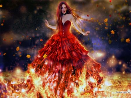 Goodbye Autumn Fire Girl Desktop Nexus Wallpapers Fire Dancer Digital Artists Art