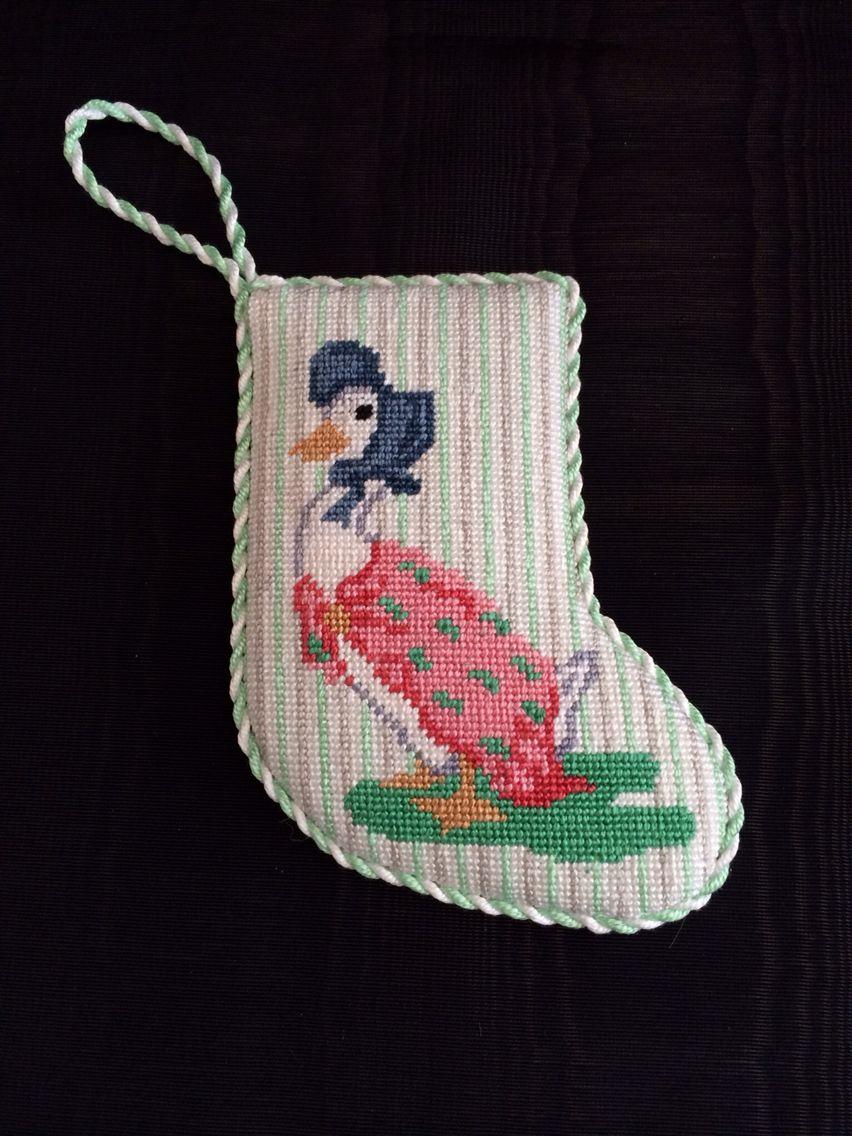 "Needlepoint Christmas Stocking ""Children Decorating the"