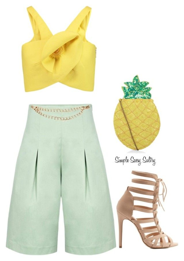 """Pineapples"" by simplesassysultry ❤ liked on Polyvore featuring Paper London, Delpozo, Maison Mayle, Charlotte Russe and New Look"