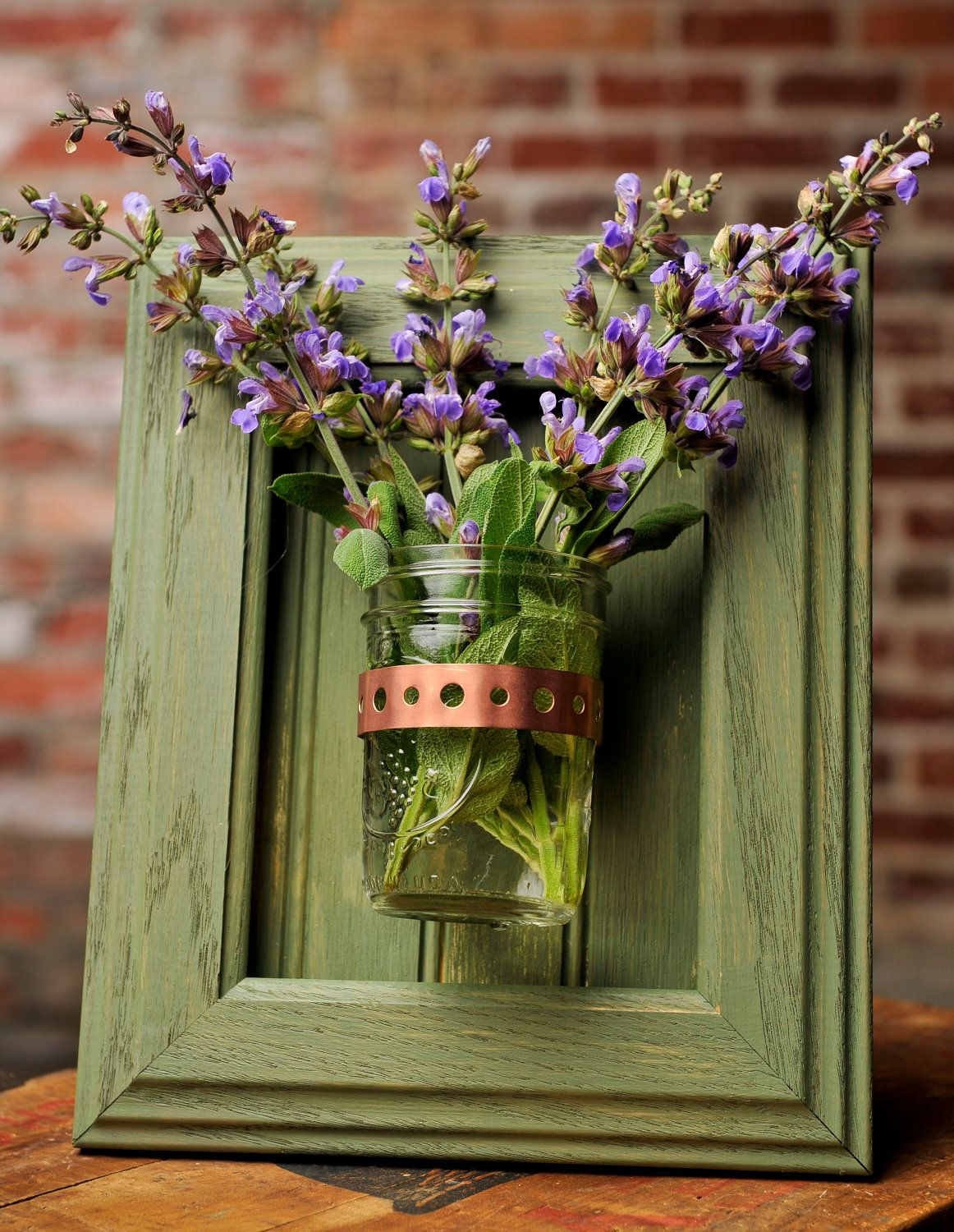 Framed Mason Jar Wall Sconce Moss Green Flower/ Plant ... on Wall Sconces That Hold Flowers id=38083