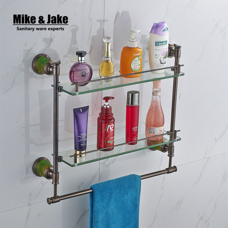 Bathroom glass shelf Solid Brass azure stone wall glass shelf With