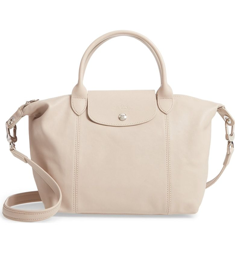 Longchamp Le Pliage Cuir Leather Tote - Beige In Gold/ Beige ...