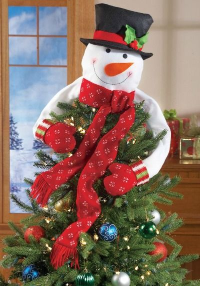 How cute is this snowman tree topper! | Snowmen Are My Favorite ...