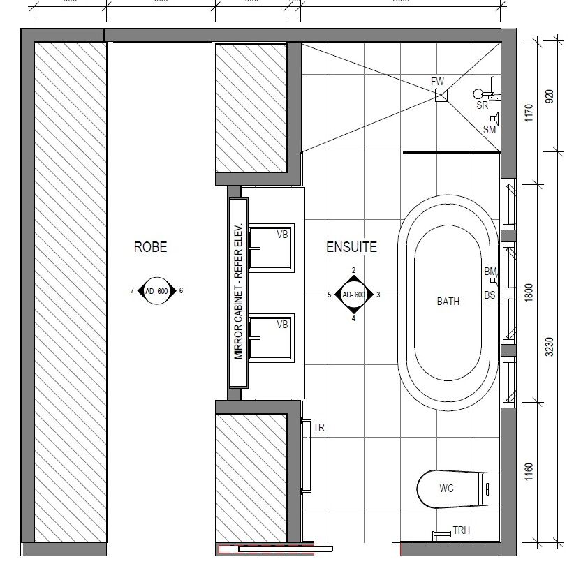 Small Master Ensuite Layout