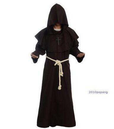 Kids Childs Brown Hooded Robe Fancy Dress Cloak Halloween Frodo Monk Boys Girls