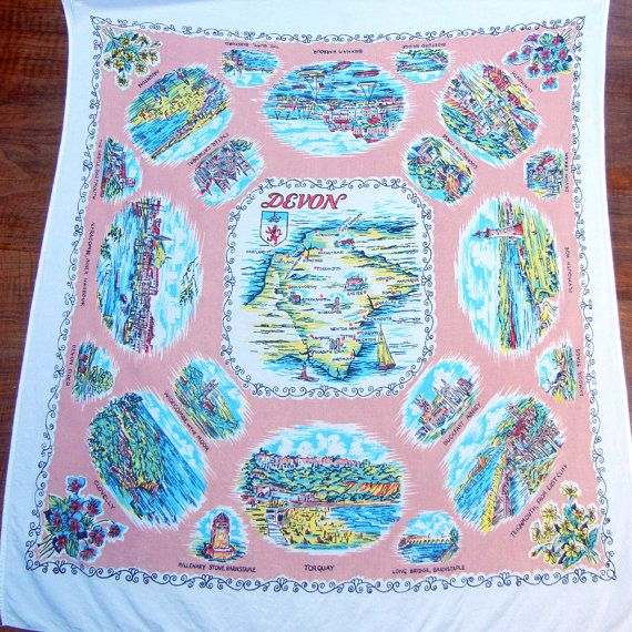 Vintage 1960s Souvenir Tablecloth by CinnamonGirlStuff on Etsy, $20.00