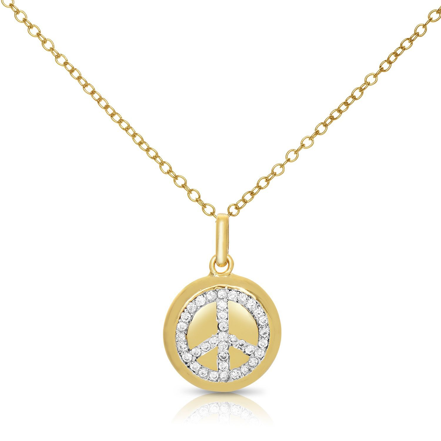 Collete Z Cubic Zirconia Sterling Silver Gold Plated Peace Symbol Disc Pendant
