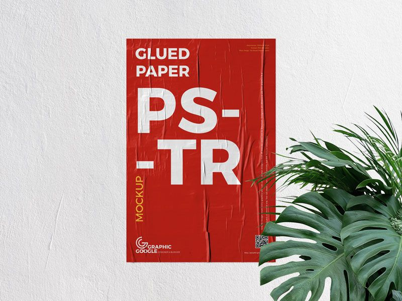 Free Psd Glued Paper On Concrete Wall Poster Mockup 2 Poster Mockup Poster Mockup Free Poster Mockup Psd